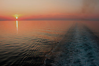 Mediterranean cruise sunset from the stern of the ship