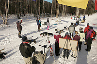 "March 3, 2007.  Anchorage, Alaska.  Idita-rider Verna Overturf, riding on Thomas Lesatz' team, is handed a muffin at the ""Knapp Muffin Checkpoint"" at mile 4 during the Iditarod race.ceremonial start day of the Iditarod Trail Sled Dog Race"
