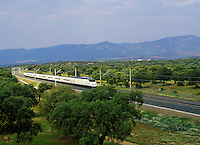 High speed train, the Ave, Spain's mainline express near Seville. Spain..