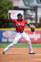 Erie Seawolves third baseman Corey Jones (24) throws to first during a game against the Altoona Curve on July 10, 2016 at Jerry Uht Park in Erie, Pennsylvania.  Altoona defeated Erie 7-3.  (Mike Janes/Four Seam Images)