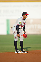 Danville Braves shortstop Kevin Maitan (26) on defense against the Burlington Royals at Burlington Athletic Stadium on August 14, 2017 in Burlington, North Carolina.  The Royals defeated the Braves 9-8 in 10 innings.  (Brian Westerholt/Four Seam Images)