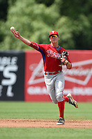 Jon Meola (19) of Toms River East High School in Toms River, New Jersey playing for the Philadelphia Phillies scout team during the East Coast Pro Showcase on August 2, 2014 at NBT Bank Stadium in Syracuse, New York.  (Mike Janes/Four Seam Images)