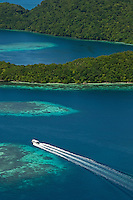 Aerial Photography over Palau, Micronesia Rock Islands, the reef and the 70 Islands