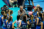 Team coach Guillermo Orduna of Argentina (C) talks during the FIVB Volleyball Nations League Hong Kong match between China and Argentina on May 29, 2018 in Hong Kong, Hong Kong. Photo by Marcio Rodrigo Machado / Power Sport Images