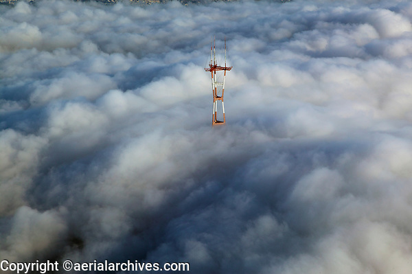 aerial photograph of Sutro Tower, Twin Peaks, San Francisco, California, in the fog
