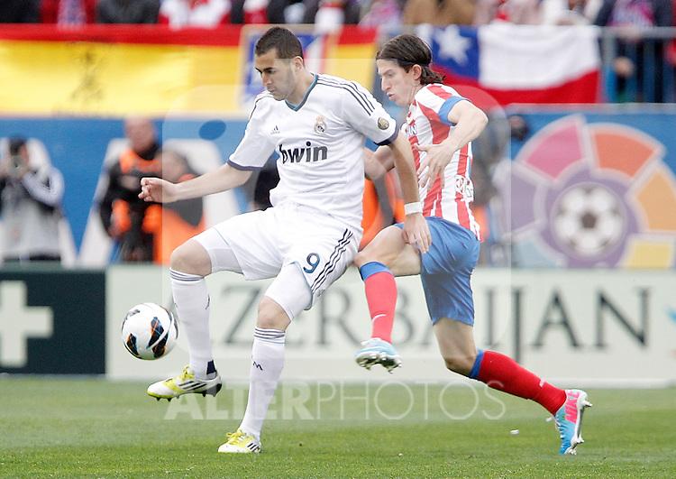 Atletico de Madrid's Filipe Luis against Real Madrid's Karim Benzema during La Liga match. April 27, 2013. (ALTERPHOTOS/Alvaro Hernandez)