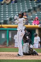 Jabari Blash (36) of the Salt Lake Bees bats against the Albuquerque Isotopes at Smith's Ballpark on April 8, 2018 in Salt Lake City, Utah. Albuquerque defeated Salt Lake 11-4. (Stephen Smith/Four Seam Images)