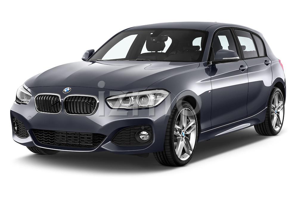 2015 BMW 1 Series M Sport 5 Door Hatchback Angular Front stock photos of front three quarter view