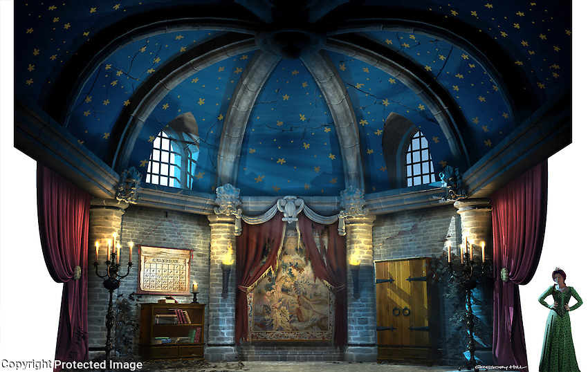 This is Fiona's Tower room, where she's been held by the dragon. For Kenmark Scenic Backdrops, Inc.