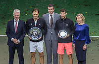 Rotterdam, The Netherlands, 18 Februari, 2018, ABNAMRO World Tennis Tournament, Ahoy, Singles final, Winner Roger Federer (SUI) with the trophy, next to tournament director Richard Krajicek the runner up Grigor Dimitrov, left CEO of the ABNAMRO Bank Kees van Dijkhuizen and right the Director of Ahoy Jolanda Jansen<br /> <br /> Photo: www.tennisimages.com