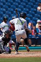Jorge Burgos (32) of the Lynchburg Hillcats at bat against the Kannapolis Cannon Ballers at Atrium Health Ballpark on August 29, 2021 in Kannapolis, North Carolina. (Brian Westerholt/Four Seam Images)