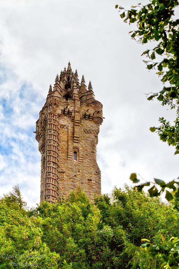Looking up at the William Wallace Monument in Sterling Scotland