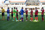 St Johnstone v FC Minsk...01.08.13 Europa League Qualifier at Neman Stadium, Grodno, Belarus...<br /> Dave Mackay, Alan Mannus and Frazer Wright lead the handshakes before kick off<br /> Picture by Graeme Hart.<br /> Copyright Perthshire Picture Agency<br /> Tel: 01738 623350  Mobile: 07990 594431