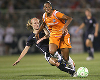Becky Sauerbrunn#22 of the Washington Freedom  slides the ball away from Rosana#11 of Sky Blue FC during a WPS match at Maryland Soccerplex on August 8,2009 in Boyds, Maryland. Freedom won 3-1