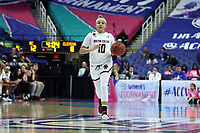 GREENSBORO, NC - MARCH 6: Makayla Dickens #10 of Boston College brings the ball up the court during a game between Clemson and Boston College at Greensboro Coliseum on March 6, 2020 in Greensboro, North Carolina.