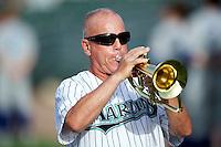 Steve Hibben performing the national anthem before a game between the Jupiter Hammerheads and Daytona Cubs at Roger Dean Stadium on July 21, 2012 in Jupiter, Florida.  Jupiter defeated Daytona 4-2.  (Mike Janes/Four Seam Images)