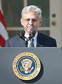 Judge Merrick Garland, chief justice for the US Court of Appeals for the District of Columbia Circuit, makes remarks following United States President Barack Obama's announcement that he was the nominee to replace the late Associate Justice Antonin Scalia on the U.S. Supreme Court in the Rose Garden of the White House in Washington, D.C. on Wednesday, March 16, 2016. <br /> Credit: Ron Sachs / CNP