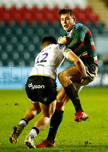 3rd January 2021; Welford Road Staadium, Leicester, Midlands, England; Premiership Rugby, Leicester Tigers versus Bath Rugby; Freddie Steward of Leicester Tigers is tackled by Cameron Redpath of Bath Rugby