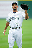 Charlotte Knights shortstop Marcus Semien (3) warms up in the outfield prior to the game against the Lehigh Valley IronPigs at Knights Stadium on August 6, 2013 in Fort Mill, South Carolina.  The IronPigs defeated the Knights 4-1.  (Brian Westerholt/Four Seam Images)