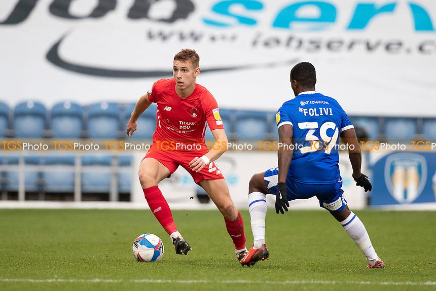 Hector Kyprianou, Leyton Orient closed down by Michael Folivi, Colchester United during Colchester United vs Leyton Orient, Sky Bet EFL League 2 Football at the JobServe Community Stadium on 14th November 2020