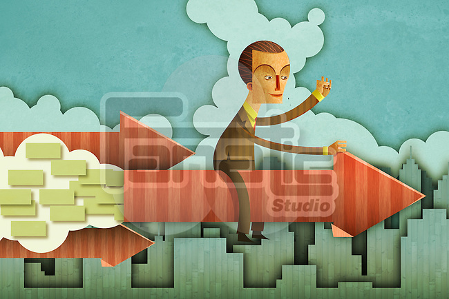 Illustrative image of businessman sitting on an arrow representing business growth