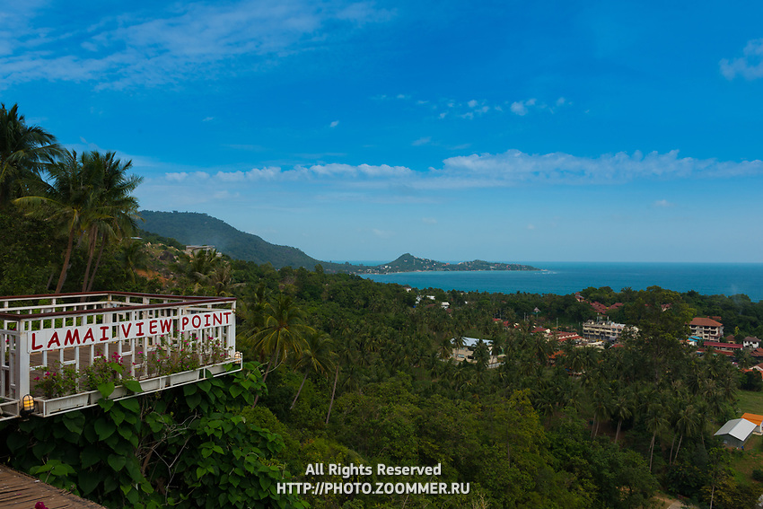 Lamai Viewpoint sign in observation deck, Samui island, Thailand