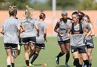 Houston, TX - Friday Oct. 07, 2016: Washington Spirit, Ali Krieger during training prior to the National Women's Soccer League (NWSL) Championship match between the Washington Spirit and the Western New York Flash at BBVA Compass Stadium.