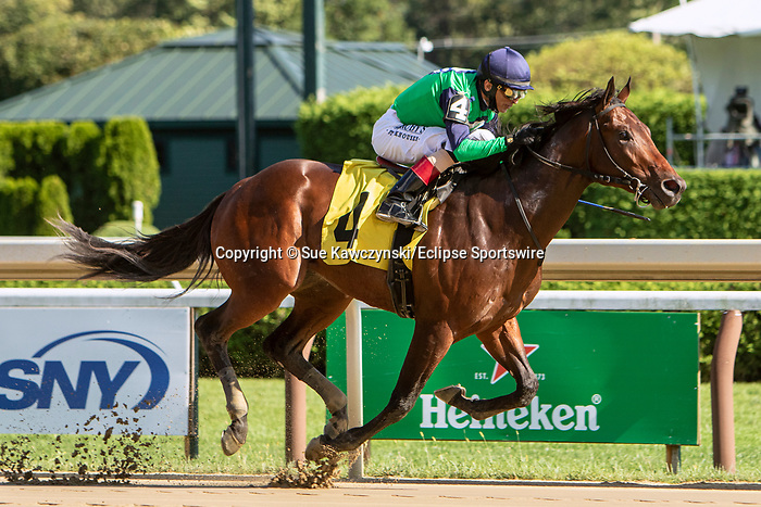 SEPT 06, 2021: Don't Wait Up, #4, ridden by John Velazquez, wins a Maiden Special Weight for 2-year olds, going 7 furlongs, at Saratoga Racecourse, Saratoga Springs, New York. Sue Kawczynski/Eclipse Sportswire/CSM