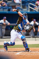 Biloxi Shuckers catcher Tyler Heineman (8) throws to second base on a stolen base attempt during a game against the Jacksonville Jumbo Shrimp on May 6, 2018 at MGM Park in Biloxi, Mississippi.  Biloxi defeated Jacksonville 6-5.  (Mike Janes/Four Seam Images)