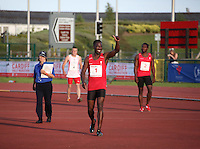 Tuesday 15th July 2014<br /> Pictured: Christian Malcolm <br /> RE: Welsh Sprinter Christian Malcolm gives the thumbs up after his team win the 4x100m relay at the Welsh Athletics International in the Cardiff International Sports Stadium Wales UK. His last race on home soil.