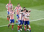 Atletico de Madrid's Fernando Torres, Gabi Fernandez, Jose Maria Gimenez, Jesus Gamez, Raul Jimenez, Tiago Mendes and Koke Resurrecccion celebrate goal during La Liga match.March 21,2015. (ALTERPHOTOS/Acero)