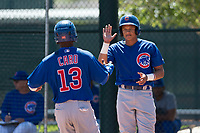 Chicago Cubs third baseman Fidel Mejia (16) high fives roommate Roberto Caro (13) during an Extended Spring Training game against the Los Angeles Angels at Sloan Park on April 14, 2018 in Mesa, Arizona. (Zachary Lucy/Four Seam Images)