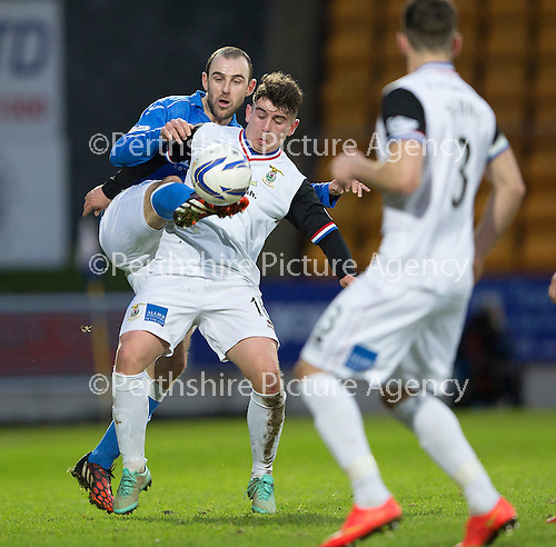 St Johnstone v Inverness Caledonian Thistle...20.12.14   SPFL<br /> Aaron Doran and Dave Mackay<br /> Picture by Graeme Hart.<br /> Copyright Perthshire Picture Agency<br /> Tel: 01738 623350  Mobile: 07990 594431