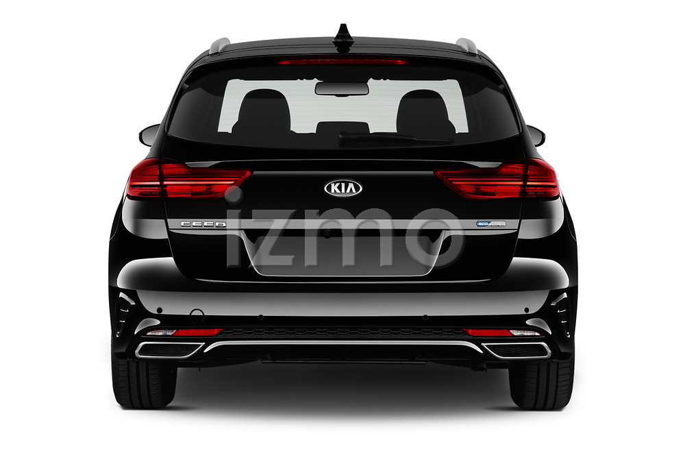 Straight rear view of 2020 KIA Ceed-SW-PHEV Business-Line 5 Door Wagon Rear View  stock images