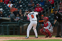 Oregon State Beavers second baseman Andy Armstrong (9) at bat during a game against the New Mexico Lobos on February 15, 2019 at Surprise Stadium in Surprise, Arizona. Oregon State defeated New Mexico 6-5. (Zachary Lucy/Four Seam Images)
