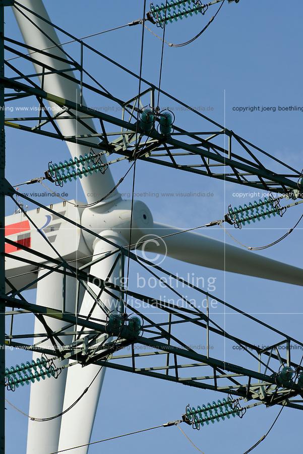 GERMANY Brunsbuettel, Repower 5 MW wind turbine and grid steel tower / DEUTSCHLAND, Windkraftanlage Repower 5M mit 5 MW Leistung vor Hochspannungsgittermast
