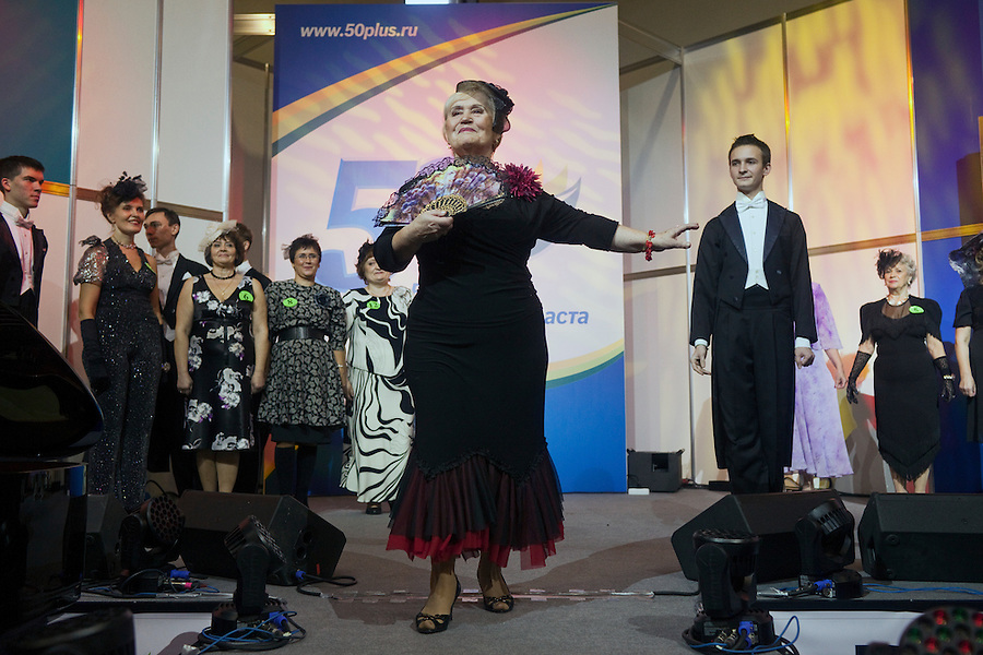 Moscow, Russia, 02/11/2011..Competitors onstage at the first Moscow Super-Babushka contest. A total of 105 women aged over 50 entered to compete for various titles, including most stylish, modern, elegant, business-minded, creative, artistic, and cheerful granny. The overall winning title of Super-Babushka was taken by 73 year old Ludmilla Trafinovna in the event organised by the Moscow City Government Social Welfare Department.