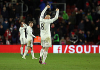 Pictured: Jonjo Shelvey of Swansea celebratingf his team's win at the end of the game Sunday 01 February 2015<br />