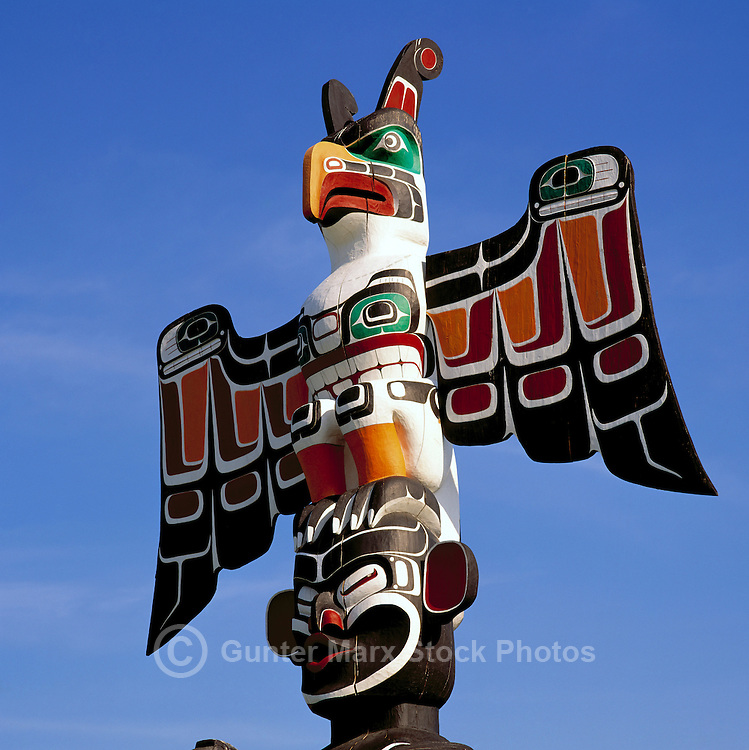 Kwakwaka'wakw (Kwakiutl) Totem Pole, Duncan, BC, Vancouver Island, British Columbia, Canada - Close Up Detail of Thunderbird and Dzoonokwa (Wild Woman of the Woods).  Duncan is called City of Totem Poles.