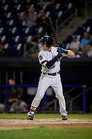 Staten Island Yankees Jacob Sanford (18) at bat during a NY-Penn League game against the Aberdeen Ironbirds on August 22, 2019 at Richmond County Bank Ballpark in Staten Island, New York.  Aberdeen defeated Staten Island in a rain shortened game.  (Mike Janes/Four Seam Images)