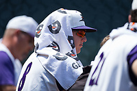 Zack Collins (8) of the Winston-Salem Dash tries to beat the heat during the game against the Salem Red Sox at BB&T Ballpark on July 23, 2017 in Winston-Salem, North Carolina.  The Dash defeated the Red Sox 11-10 in 11 innings.  (Brian Westerholt/Four Seam Images)