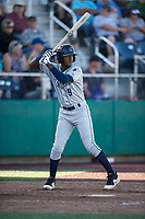 Tri-City Dust Devils center fielder Angel Solarte (9) at bat during a Northwest League game against the Everett AquaSox at Everett Memorial Stadium on September 3, 2018 in Everett, Washington. The Everett AquaSox defeated the Tri-City Dust Devils by a score of 8-3. (Zachary Lucy/Four Seam Images)