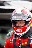 Oct 12, 2019; Concord, NC, USA; NHRA top fuel driver Doug Kalitta during qualifying for the Carolina Nationals at zMax Dragway. Mandatory Credit: Mark J. Rebilas-USA TODAY Sports