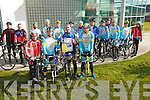 Scenic Challenge: Olympian Cyclist Ciaran Power, Waterford,  second from right front,  pictured with members of Kerry Crusader Cycling Club at the Ballybunion Swimming Pool complex on Saturday morning last to announce the forth coming Scenic Challenge around the roads of North Kerry & West Limerick to be held on Sunday April 14th next. Front : Alan Heary, William Keane, Treasurer, Ciaran Power & Kieran Kennelly chairperson Kerry Cruasders Cycling
