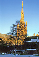 Norwich: Norwich Cathedral--Spire from without the Close. Photo '90.