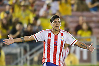 Pasadena, CA - Tuesday June 07, 2016: Paraguay defender Gustavo Gómez (3) during a Copa America Centenario Group A match between Colombia (COL) and Paraguay (PAR) at Rose Bowl Stadium.