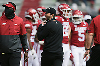 Arkansas offensive coordinator Kendal Briles reacts, Saturday, October 17, 2020 before the start of Arkansas' 33-21 win over Ole Miss at Donald W. Reynolds Razorback Stadium in Fayetteville. Check out nwaonline.com/201018Daily/ for today's photo gallery. <br /> (NWA Democrat-Gazette/Charlie Kaijo)