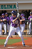 James Madison University outfielder Cole McInturff #4 at bat during a game against the Boston College Eagles at Watson Stadium at Vrooman Field on February 18, 2012 in Conway, SC.  Boston College defeated James Madison 8-5.  (Robert Gurganus/Four Seam Images)