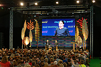 Pictured: Former MP David Miliband (R) talks to Jim Naughtie (L) in the Tata Tent.<br /> Re: Hay Festival at Hay on Wye, Powys, Wales, UK. Saturday 02 June 2018