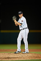 Lakeland Flying Tigers relief pitcher Spenser Watkins (31) gets ready to deliver a pitch during a game against the Fort Myers Miracle on August 7, 2018 at Publix Field at Joker Marchant Stadium in Lakeland, Florida.  Fort Myers defeated Lakeland 5-0.  (Mike Janes/Four Seam Images)